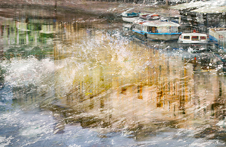 Fine art photography of city boats on river