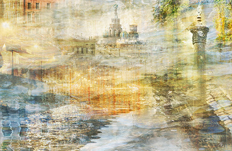 Abstract cityscape of old Petersburg art photography print